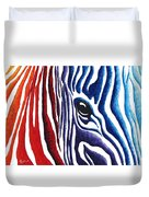 Colorful Stripes Original Zebra Painting By Madart Duvet Cover