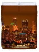 Colorful Summer Night In Pittsburgh Duvet Cover