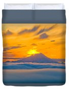 Colorful Sunset Behind Mt. Redoubt And Duvet Cover