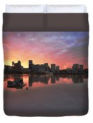 Colorful Sunset Over Portland Downtown Waterfront Duvet Cover