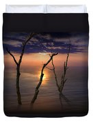 Colorful Sunset Seascape With Tree Trunks Duvet Cover