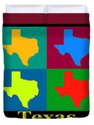 Colorful Texas Pop Art Map Duvet Cover