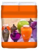 Colorful Vases I - Still Life Duvet Cover