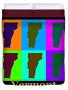 Colorful Vermont Pop Art Map Duvet Cover