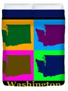 Colorful Washington State Pop Art Map Duvet Cover