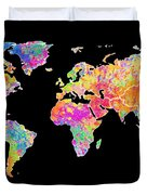 Colorful Watercolor World Map Duvet Cover