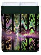 Colorful Waves And Stripes Fractal Art Duvet Cover