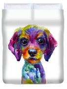 Colorful Whimsical Daschund Dog Puppy Art Duvet Cover