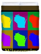 Colorful Wisconsin Pop Art Map Duvet Cover