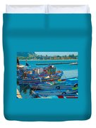 Colors Of A Fishing Fleet Duvet Cover