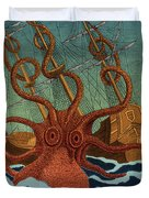 Colossal Octopus Attacking Ship 1801 Duvet Cover