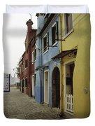 Coloured Houses In Burano Duvet Cover