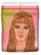 Coloured Pencil Self Portrait Duvet Cover by Joan-Violet Stretch