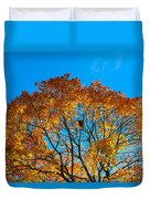 Colourful Autumn Tree Against Blue Sky Duvet Cover