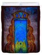 Colourful Doorway Art On Adobe House Duvet Cover