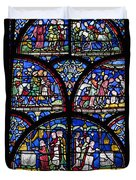 Colourful Stained Glass Window In Duvet Cover by Terence Waeland