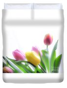 Colourful Tulips That Are Digitally Softened Duvet Cover