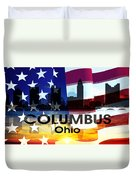 Columbus Oh Patriotic Large Cityscape Duvet Cover