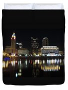 Columbus Skyline At Night Duvet Cover