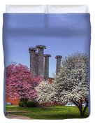 Columns And Dogwood Trees Duvet Cover