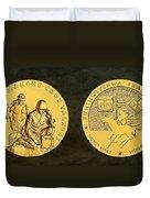 Comanche Nation Tribe Code Talkers Bronze Medal Art  Duvet Cover