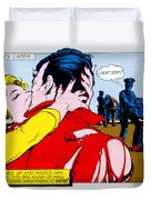 Comic Strip Kiss Duvet Cover by MGL Studio