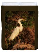 Common Egret Of Palestine Lake Duvet Cover