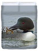 Common Loon With Food Duvet Cover