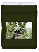 Common Raven Feeding Young In Nest Duvet Cover