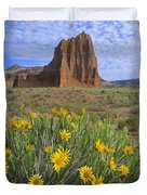 Common Sunflowers And  Temple Of The Sun Duvet Cover by Tim Fitzharris