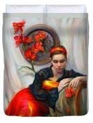 Common Threads - Divine Feminine In Silk Red Dress Duvet Cover by Talya Johnson