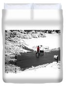 Companions Walking On Christmas Morning Duvet Cover