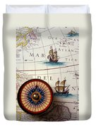 Compass And Old Map With Ships Duvet Cover