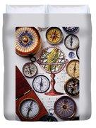 Compasses And Globe Illustration Duvet Cover