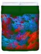 Computer Generated Abstract Red And Green Fractal Flame Duvet Cover