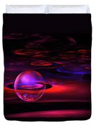 Computer Generated Sphere Red Abstract Fractal Flame Art Duvet Cover
