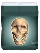 Conceptual Image Of Human Skull, Front Duvet Cover by Stocktrek Images