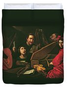 Concert With Musicians And Singers, C.1625 Oil On Canvas Duvet Cover