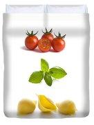 Conchiglioni Pasta Shells Tomatoes And Basil Leaves  Duvet Cover