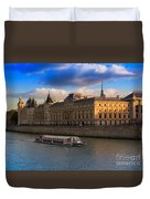 Conciergerie And The Seine River Paris Duvet Cover
