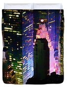 Concrete Canyons Of Manhattan At Night  Duvet Cover