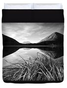 Cone Shaped Mountain Reflected In Lake At Sunset Duvet Cover
