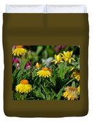 Coneflowers And Friend Duvet Cover