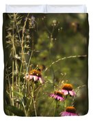 Coneflowers Weeds And Bee Duvet Cover
