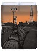 Coney Island Evening Duvet Cover