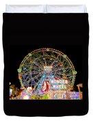 Coney Island's Famous Amusement Park And Wonder Wheel Duvet Cover