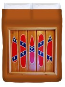 Confederate Flag Surfboards And Skulls Hand Painted By Mark Lemmon Duvet Cover