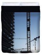 Construction Cranes In Backlit Duvet Cover