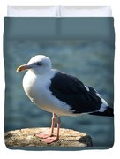 Contemplating Life Of A Sea Gull Duvet Cover