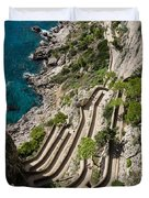 Contemplating Mediterranean Vacations - Via Krupp Capri Island Italy Duvet Cover